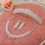 handmade sparkling crystal necklace earrings tiara bridal <b>jewelry</b> sets three-piece fitted wedding <b>accessories</b> wholesale