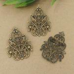 40pcs/Lot 35*48mm fallen petals Brooches <b>Antique</b> Bronze vintage cabochon pin base blank settings diy handmade <b>jewelry</b>