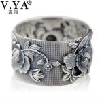 V.YA Vintage 999 Pure Silver Emboss Flower Rings for Women Lover Thai Silver <b>Jewelry</b> <b>Accessories</b> Birthday Mother Days Gift