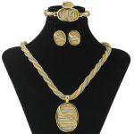 CZ Africa New Fashion Three-color Necklace Pendant Gold <b>Jewelry</b> Set Italy Elegant Bride Crystal <b>Jewelry</b> <b>Accessories</b>