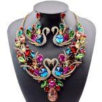 Bridal <b>Jewelry</b> Sets full Crystal Rhinestone Swan Gold Necklace and Earrings Set for Women Wedding Dress <b>Accessories</b> <b>Jewelry</b> Sets
