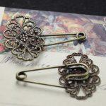 50pcs/Lot 20*30mm fallen petals Brooches <b>Antique</b> Bronze vintage cabochon pin base blank settings diy handmade <b>jewelry</b>