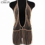 Chran Sexy Unique Design Gold Beach Chain Fashion Women Metal Gold Tassel Beach Harness Chain Necklace Dress <b>Jewelry</b> <b>Accessories</b>