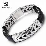 Kalen 22cm Fashion Braided Leather Bracelet Stainless Steel High Polished Vintage Charm Bracelet Bangle Men <b>Jewelry</b> <b>Accessories</b>