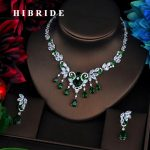 HIBRIDE Classic Flower Pendents Green Cubic Zircon Women Dubai Bridal <b>Jewelry</b> Sets Wedding Necklace <b>Accessories</b> Bijoux N-527