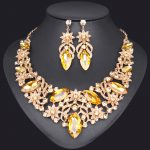 Fashion Dubai Necklace Earrings Sets Bridal <b>Jewelry</b> Sets Gold Color Crystal Party Wedding Costume <b>Accessory</b> Gift for Bride Women