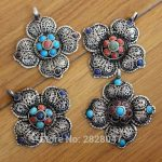 PN850 Tibetan Silver Inlaid Colorful Beads Vintage Flower Pendant Nepal Indian <b>Antiqued</b> <b>Jewelry</b>,Wholesale handmade jewely
