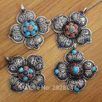 PN850 Tibetan Silver Inlaid Colorful Beads Vintage Flower Pendant Nepal Indian <b>Antiqued</b> <b>Jewelry</b>,Wholesale handmade jewely