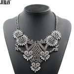 2017 NEW hot sale ethnic vintage <b>antique</b> silver-color crystal bib pendant necklace statement <b>jewelry</b> white black