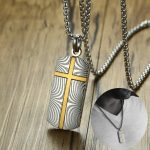 Classic Design Meteorite Damascus Steel with Cross Dog Tag Pendant Necklace for Men Decorate <b>Jewelry</b> <b>Accessories</b> Gift for Him