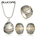 Blucome Vintage Stud Earring Necklace Ring Set Pendant Antique Silver Color Shell <b>Jewelry</b> Sets Women Banquet Party <b>Accessories</b>