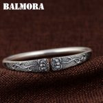 BALMORA 990 Pure Silver Lotus Flower Open Bangles for Women Mother Gift about 18cm Bracelet <b>Jewelry</b> <b>Accessories</b> Esposas SZ0510