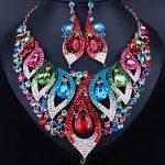 Fashion Crystal Rhinestone Bridal <b>Jewelry</b> Set Wedding Dress <b>Accessories</b> Necklace Earring Set For Brides Women FCN28