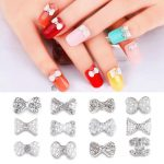 12 designs Silver Bowknot Design Nail <b>Art</b> Decoration rhinestone Charms <b>Jewelry</b> DIY nail beads <b>deco</b>