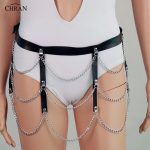 Chran Leather Bondage Chain Panty Belly Wasit Belt Harness Necklace Skirt <b>Jewelry</b> <b>Accessories</b> Burning Man Lingerie Wear CRPL10