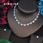 HIBRIDE Sparkling Small Flower Shape CZ Design Women Bridal <b>Jewelry</b> Sets Necklace Set Wedding Dress <b>Accessories</b> <b>Jewelry</b> N-442