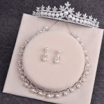 Bride Diaries Wedding <b>Accessories</b> Simulated Pearl Tiara Crown Earrings Necklaces Set Silver Plated Bridal <b>Jewelry</b> Sets