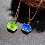 Cloisonne <b>jewelry</b> <b>accessories</b> <b>accessories</b> DIY sterling silver gilt Leaf Pendant pendant old Beijing craft bracelets