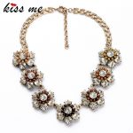 New Styles KISS ME Statement Necklace Fashion <b>Jewelry</b> Elegant <b>Antique</b> Resin Flowers Pendant Banquet Necklaces Pendants