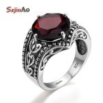 Szjinao Vintage Indian Solitaire Garnet Rings For Women Soild 925 Sterling Silver Handmade <b>Antique</b> Bohemia <b>Jewelry</b> Art Deco