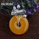 BALMORA 100% Real 990 Pure Silver <b>Jewelry</b> Chalcedony Retro Pendants for Necklaces Women Lover <b>Accessories</b> Gifts Bijoux MN12252