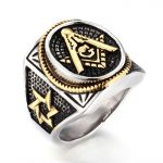316l Stainless Steel Gold Color <b>Antique</b> Masonic Ring Punk Ring <b>Jewelry</b> for Men