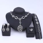 African Indian <b>Jewelry</b> Set Hollowed <b>Jewelry</b> Sets Silver Color Necklace Earrings Bracelet Ring Set For Women Costume <b>Accessories</b>