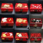 <b>Jewelry</b> Box <b>Antique</b> Storage Boxes Bins Chinese Lacquerware Lacquer Arts with Lock 21x14x8cm Red Wooden Rectangle Wedding Gift