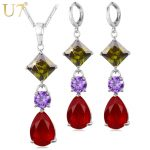U7 Gold/Silver Color <b>Jewelry</b> Set For Women <b>Accessories</b> Colorful Cubic Zirconia Earrings Necklace Set Women Gift S685