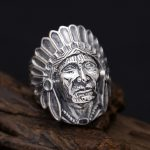 Indian Chief Head Wide Band Ring Men 100% Solid 925 Sterling Silver Vintage Punk Style Handmade <b>Antique</b> Silver 925 Mens <b>Jewelry</b>