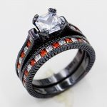 choucong Lovers <b>Antique</b> <b>jewelry</b> Red 5A Zircon stone 10KT Black Gold Filled Engagement Wedding band Ring Set Sz 5-11