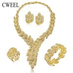 <b>Jewelry</b> Sets For Women Fine Imitation Crystal Necklace Set African Beads Earrings Gold Color Pendant Wedding Dress <b>Accessories</b>