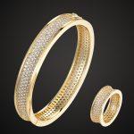 Zlxgirl <b>jewelry</b> brand full cubic zircon bangle <b>jewelry</b> sets best women bridal <b>accessory</b> sets gold color copper bangle&ring sets