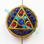 (Min. Order is $10)3pcs/lot Nepal Tibetan Type Manual <b>Antique</b> Bead, Flat Round Brass Embed Imitation Turquoises H662783 28x8mm