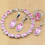 Lovely Pink CZ Silver 925 <b>Jewelry</b> Sets For Women Wedding <b>Accessories</b> Earrings/Pendant/Rings/Bracelet/Necklace