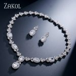 ZAKOL Top Quality Oval Cubic Zircon Sliver Color <b>Jewelry</b> Set For Noble Women Party <b>Accessories</b> FSSP234