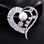 S.vex Fashion Bride Brooch Big Heart Pin Clear Rhinestone Crystal Bridal Bridesmaid Wedding Pearl <b>Accessories</b> <b>Jewelry</b> For Woman