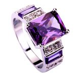 <b>Art</b> <b>Deco</b> Fashion <b>Jewelry</b> purple white Silver color Ring Size 7 8 9 10 11 12 Charming Square Cut For Women Wholesale