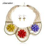 Xiacaier Handmade Flower <b>Jewelry</b> Sets Women Tassel Beads Choker Necklace Earrings Set Party Jewellery <b>Accessories</b> Indian <b>Jewelry</b>