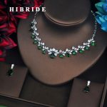 HIBRIDE Flower Shape Green Stone Dubai <b>Jewelry</b> Sets For Women Pendant Set Dress <b>Accessories</b> Brilliant <b>Jewelry</b> Necklace Set N-581