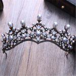 Trendy European <b>Antique</b> Copper Color Imitation Pearl Crown headdress For Women Wedding bridal headwear <b>Jewelry</b>