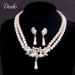 luxury imitation pearl necklace earring Bridal Bridesmaid African wedding <b>jewelry</b> set vintage elegant drop water <b>accessories</b> HD9