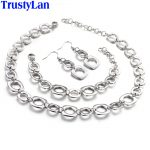 TrustyLan Fashion New Necklace Earrings Bracelet <b>Jewelry</b> Sets For Women Bridal 316L Stainless Steel Party <b>Jewelry</b> <b>Accessory</b>