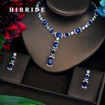 HIBRIDE Briliant Blue AAA CZ <b>Jewelry</b> Sets For Women Luxury Necklace Set Wedding Dress <b>Accessories</b> Party Show Wholesale N-463
