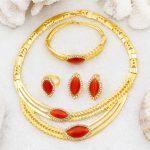 AAAA New Fashion Dubai Women's <b>Jewelry</b> Red Austria Crystal Big Necklace Gold <b>Jewelry</b> Sets Charm Female Wedding <b>Accessories</b>