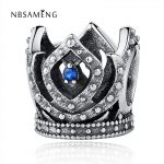 NBSAMENG Authentic 100% 925 Sterling Silver Beads Blue Crystal <b>Antique</b> Crown Charms Fit Women Bracelets & Bangles DIY <b>Jewelry</b>