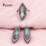 PATAYA Rainbow Wedding <b>Jewelry</b> Sets Crystal True White Gold Ring Earrings Sets Dubai Bridal <b>Accessories</b> Vintage <b>Jewelry</b> Sets