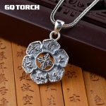 Real 925 Sterling Silver Mantra Pendant Six Words Om Buddhist <b>Jewelry</b> Vintage Women Men <b>Accessories</b>