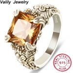 Valily <b>Jewelry</b> Women's 925 sterling <b>Antique</b> Silver Rings Vintage Square Cubic Zirconia setting by prone flower band rings Men