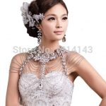 Luxury Wedding <b>Jewelry</b> Long Crystal Necklace Chain Bridal Shoulder Strap wedding <b>Accessories</b> For Women shoulder chains